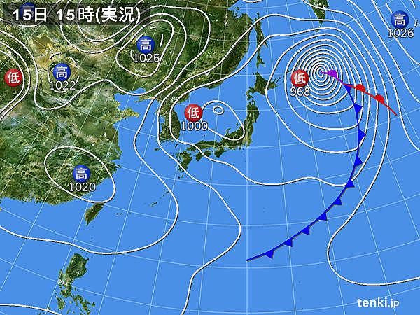 3月15日15:00の天気図