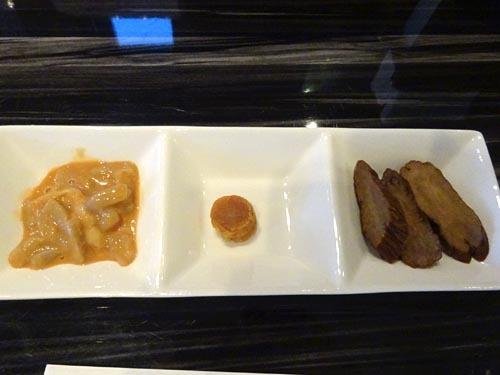 11日本海の肴3種イカ塩辛ホタテ貝柱いぶりがっこ