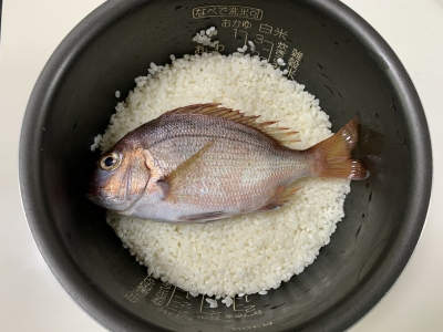 研いだお米の上に鯛をのせる