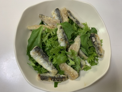 ウルメイワシとワサビ菜のサラダ