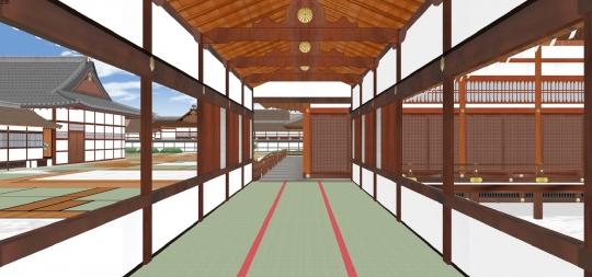 2020-03-17-学問所への渡り廊から大台所の清所を見る