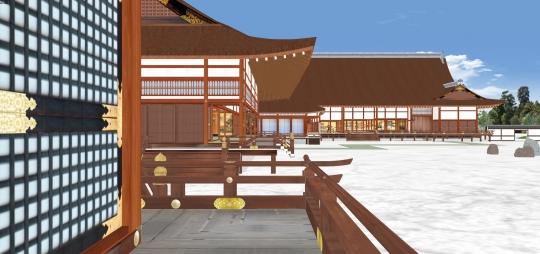 2020-03-17-小御所から学問所と御常御殿を見る