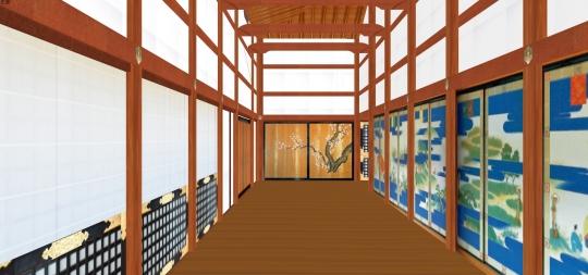 2020-03-17-小御所西廂から杉戸の紅梅を見る