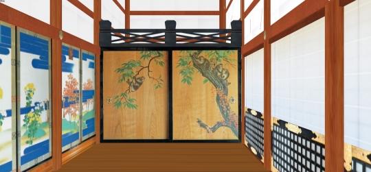 2020-03-17-小御所西廂-奥の杉戸は栗に猿のズームアップ