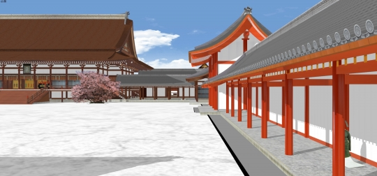 2020-03-18-南庭回廊越しに紫宸殿