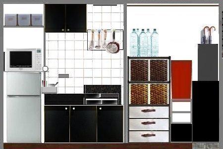 NANTONAKU キッチン 色々並べすぎたのでカーテンで隠して1