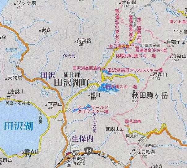 田沢湖町スキー場マップ