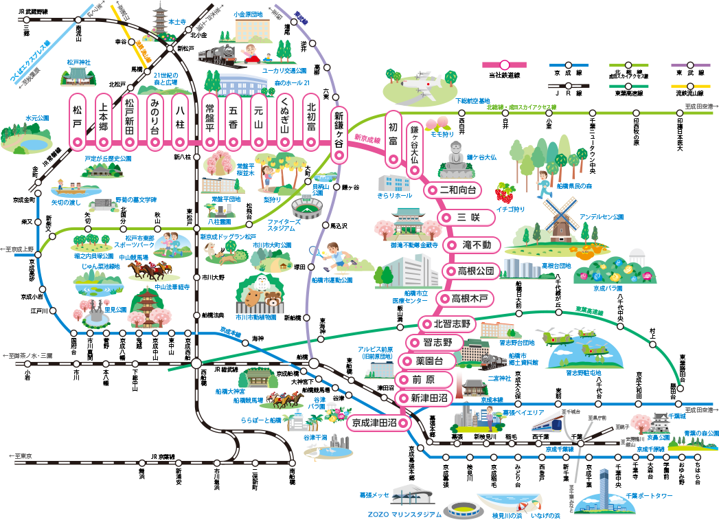 駅周辺を見る - 新京成電鉄