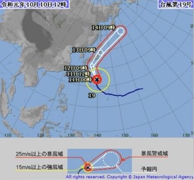2019年10月10日台風進路図(気象庁)