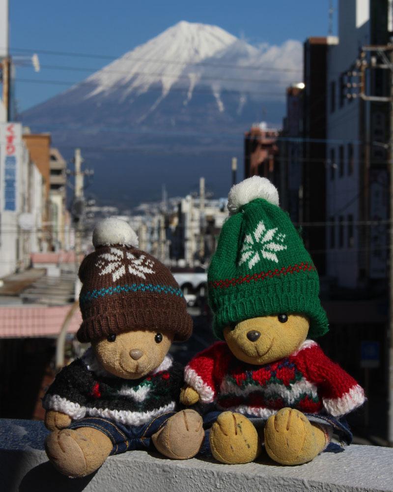 富士本町通りと富士山を背景に 200121