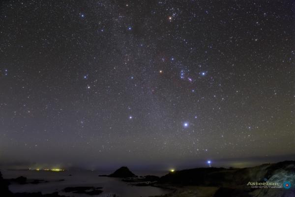 爪木崎海岸に昇る冬の星座