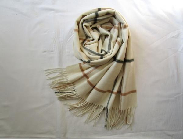 カシミヤストール白ウインドウペン (10)
