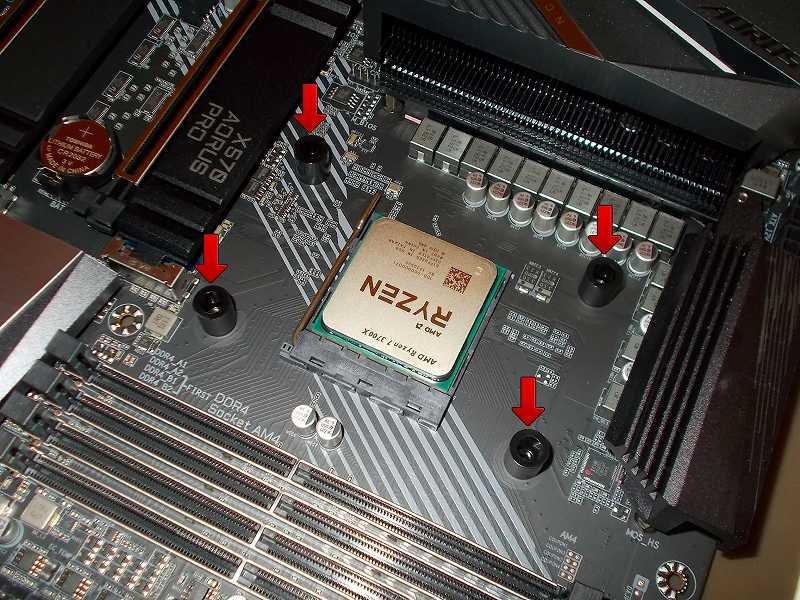 第 3 世代 Ryzen CPU(Zen 2)でこだわりの自作 PC を仮組!テストベンチ動作確認編、CPU クーラー Thermalright Silver Arrow 130 装着、AMD リテンションブラケット用ネジ穴にナイロンチューブ(Nylon Tube) 4個セット