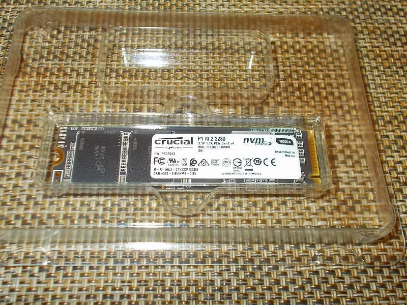 第 3 世代 Ryzen CPU(Zen 2)でこだわりの自作 PC を構成!PC パーツ購入編、第 3 世代 Ryzen CPU(Zen 2) 自作 PC メインパーツ構成リスト、M.2 SSD(NVMe) Crucial NVMe M.2 SSD P1 CT1000P1SSD8JP 購入