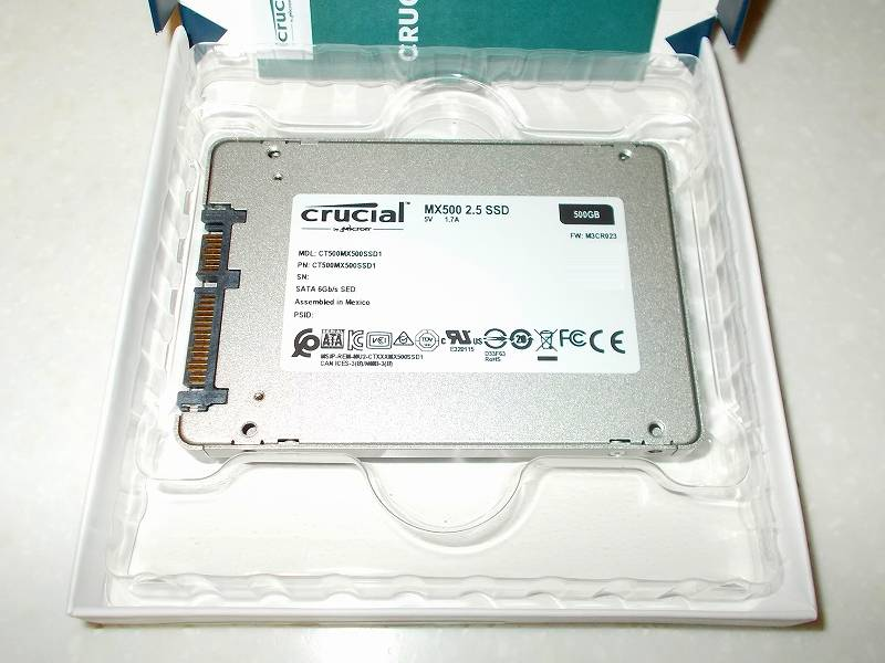 第 3 世代 Ryzen CPU(Zen 2)でこだわりの自作 PC を構成!PC パーツ購入編、第 3 世代 Ryzen CPU(Zen 2) 自作 PC メインパーツ構成リスト、SSD(SATA) Crucial SSD MX500 CT500MX500SSD1JP 500GB 購入