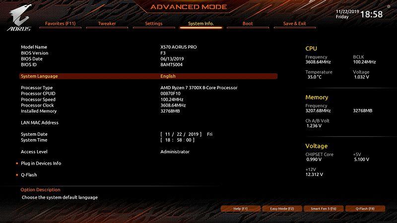 第 3 世代 Ryzen CPU(Zen 2)でこだわりの自作 PC を仮組!テストベンチ動作確認編、マザーボード GIGABYTE X570 AORUS PRO rev.1.0 - UEFI BIOS 画面(初期版 F3)、Advanced モード(英語)画面
