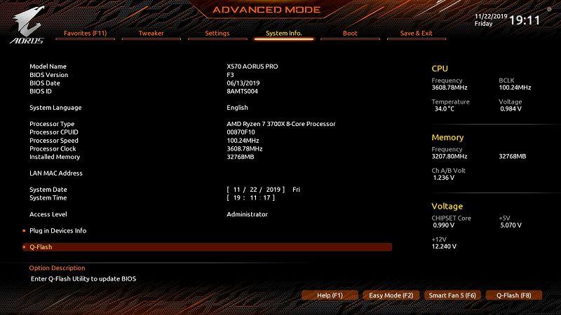 第 3 世代 Ryzen CPU(Zen 2)でこだわりの自作 PC を仮組!テストベンチ動作確認編、BIOS アップデート作業、マザーボード GIGABYTE X570 AORUS PRO rev.1.0 - UEFI BIOS 画面 Advanced モード F3(初期版)