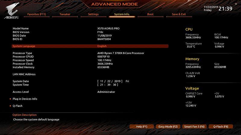 第 3 世代 Ryzen CPU(Zen 2)でこだわりの自作 PC を仮組!テストベンチ動作確認編、メモリ Crucial DDR4-3200 CT2K16G4DFD832A 2枚 A1・B1 スロットに増設(合計 4枚、64GB)、マザーボード GIGABYTE X570 AORUS PRO rev.1.0 - UEFI BIOS 画面(初期版 F3)、Advanced モード(英語)画面 64GB 認識