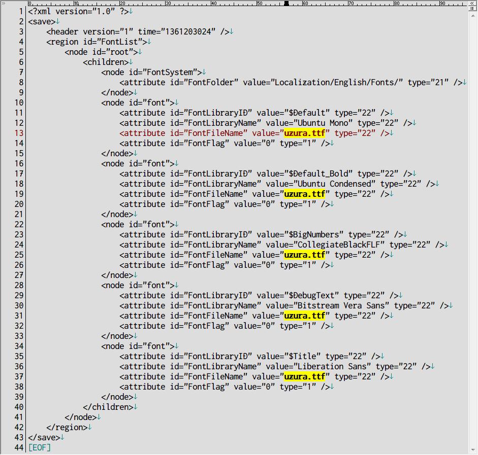 PC ゲーム Divinity: Dragon Commander 日本語化メモ、日本語化後のフォント変更方法、インストール先 Data\Localization\English\Fonts フォルダに変更したいフォントファイル(ttc、ttf)を配置、ここではうずらフォント(uzura.ttf)を使用、fonts.lsx ファイルをテキストエディタで開き、各行にある FontFileName の value を msgothic.ttc から変更したいフォントファイル名(ここでは uzura.ttf)に変更