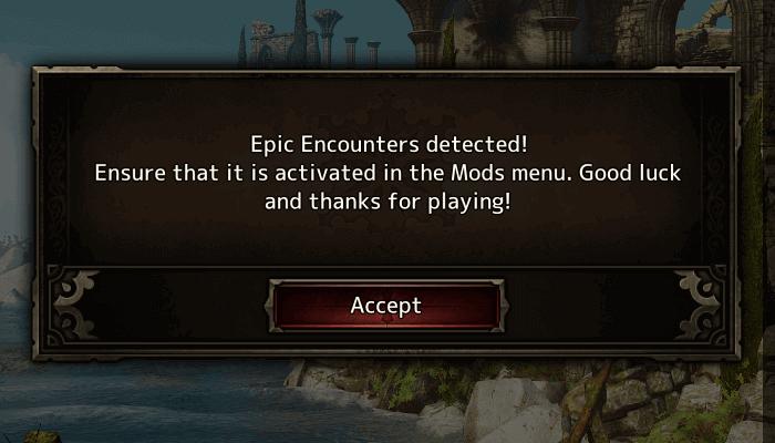 PC ゲーム Divinity: Original Sin - Enhanced Edition 日本語化とゲームプレイ最適化メモ、Mod 情報、Epic Encounters (Artificers) with 6 Man Party V1.9.4 (パーティーサイズ拡張 Mod + Epic Encounters V1.9.4)、%USERPROFILE%\Documents\Larian Studios\Divinity Original Sin Enhanced Edition\Mods フォルダに epic_encounters_071a986c-9bfa-425e-ac72-7e26177c08f6.pak ファイルを配置、Epic Encounters Mod の Steam Supplement ダウンロードして展開・解凍、インストール先 Data フォルダに Epic Encounters (Artificers) with 6 Man Party V1.9.4 の Public フォルダの配置と Localization フォルダ上書き、不自然な日本語表示状態から Epic Encounters (1.1.9.4) の英語表示に変更したい場合はマイドキュメントにある日本語化ファイル dosEEJpMod.pak を外す、ゲームを起動してタイトル画面から MOD を開き、Add-ons に表示された Epic Encounters (1.1.9.4) にチェックマークを入れ Activate ボタンをクリックしてロード、ロード後 Epic Encounters (1.1.9.4) Mod で本来表示される英語版メッセージを確認