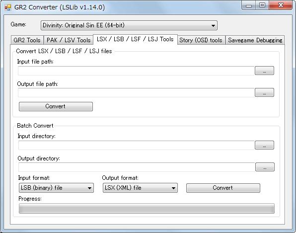 PC ゲーム Divinity: Original Sin - Enhanced Edition 日本語化とゲームプレイ最適化メモ、Mod 情報、アンパック・リパックツール ExportTool、ExportTool-latest.zip をダウンロードして展開・解凍、ConverterApp.exe を実行、LSX / LSB / LSF / LSJ Tools タブ、pak ファイルアンパック後に一部の Mod に含まれる Localization フォルダなどにある LSB(バイナリ) ファイルを LSX(XML) ファイルを変換して翻訳するために使用