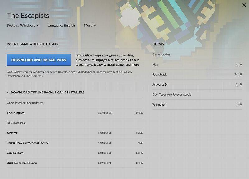 PC ゲーム The Escapists 日本語化メモ、PC ゲーム The Escapists 日本語化手順(Steam 版・GOG 版・Epic 版共通)、GOG 版 The Escapists 日本語化可能