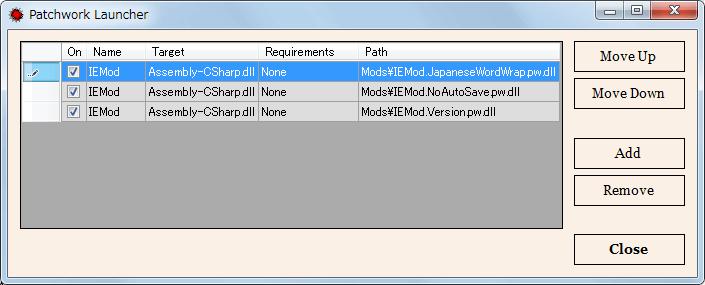 PC ゲーム Pillars of Eternity - Definitive Edition 日本語化とゲームプレイ最適化メモ、Pillars of Eternity MOD Launcher Version 0.9.3(PEM-Launcher)の使い方、Mod 有効化方法、Patchwork Launcher 画面で Active Mods ボタンをクリック、別画面が開いたら Add ボタンをクリックして Mods フォルダにある dll ファイルを開く、追加した dll ファイル、IEMod.JapaneseWordWrap.pw.dll(日本語改行 MOD)、IEMod.NoAutoSave.pw.dll(オートセーブ抑止 MOD)、IEMod.Version.pw.dll(バージョン表示 MOD)、On にあるチェックマークで Mod 有効化、チェックマークを外すと無効化