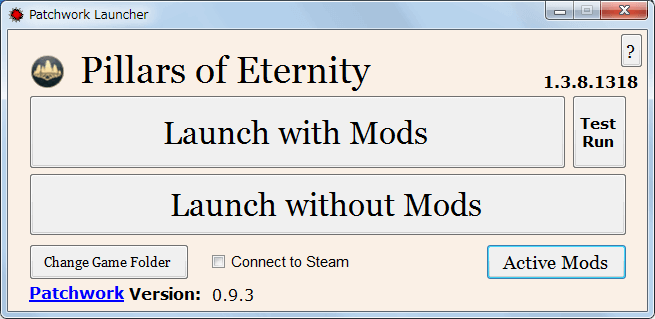 PC ゲーム Pillars of Eternity - Definitive Edition 日本語化とゲームプレイ最適化メモ、Pillars of Eternity MOD Launcher Version 0.9.3(PEM-Launcher)の使い方、Mod 有効化方法、Patchwork Launcher 画面で Active Mods ボタンをクリック