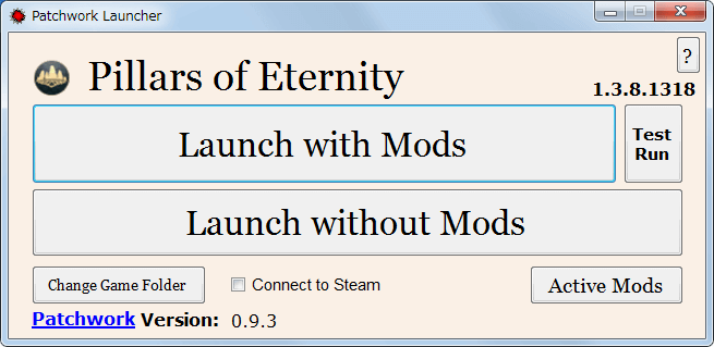 PC ゲーム Pillars of Eternity - Definitive Edition 日本語化とゲームプレイ最適化メモ、Pillars of Eternity MOD Launcher Version 0.9.3(PEM-Launcher)の使い方、Pillars of Eternity日本語化Mod3.5.rar ダウンロードして展開・解凍、さらに PEM-Launcher_2016.07.13.zip を展開・解凍、PatchworkLauncher.exe 起動、Specify the game's base folder 画面で PillarsOfEternity.exe ファイルがあるパス名を指定(Steam 版、GOG 版 どちらでも可)後、Patchwork Launcher 0.9.3 起動、パス名を変更したい場合は Change Game Folder ボタンをクリック