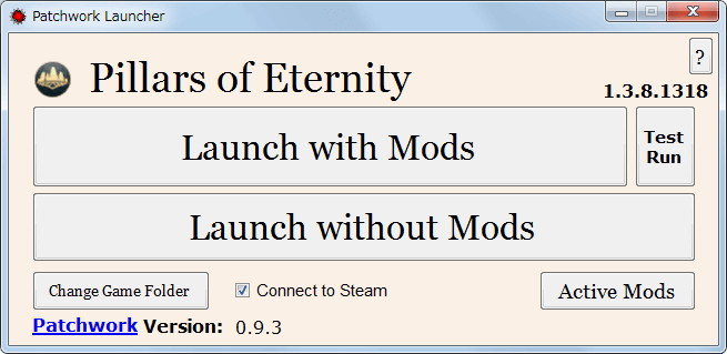 PC ゲーム Pillars of Eternity - Definitive Edition 日本語化とゲームプレイ最適化メモ、Pillars of Eternity MOD Launcher Version 0.9.3(PEM-Launcher)の使い方、Test Run ボタンで Mod の動作確認テスト開始、Launch with Mods ボタンで有効化した Mod でゲーム起動、Launch without Mods ボタンで Mod なしでゲーム起動、Connect to Steam にチェックマークを入れることで Steam 接続有効化