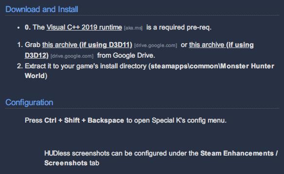 Steam 版 MONSTER HUNTER WORLD で CPU 使用率を劇的に下げる方法、Special K DirectX 11・DirectX 12 対応版公開