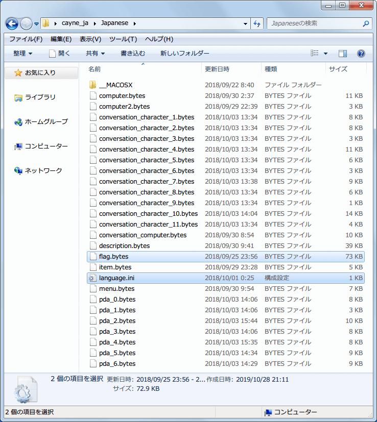 PC ゲーム CAYNE 日本語化メモ、PC ゲーム CAYNE 日本語化手順、Steam コミュニティガイド CAYNE 日本語化から cayne_ja.zip をダウンロード、Japanese フォルダ内にあるファイルリスト