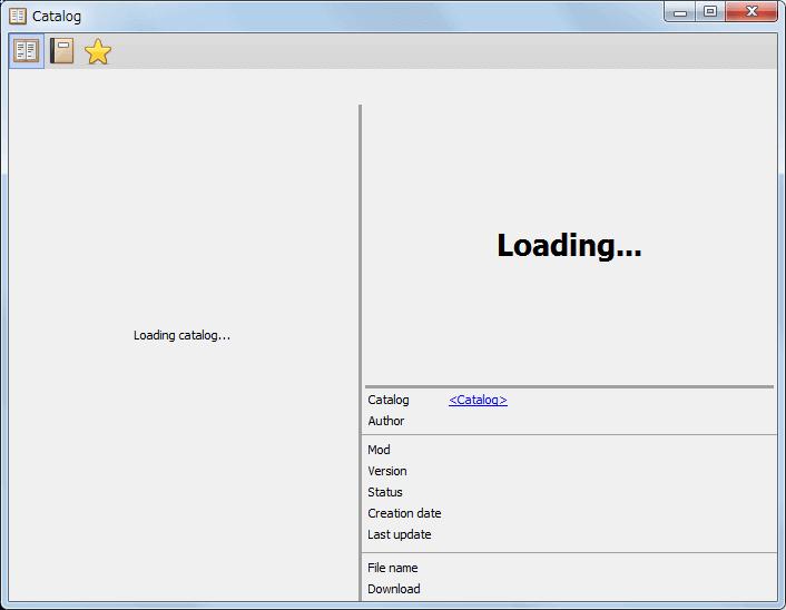 PC ゲーム Train Fever ゲームプレイ最適化メモ、Train Fever - Mod 導入方法、Mod 管理ツール - Train Fever Game Manager(TFGM) の使い方、カタログ画面、Loading catalog... のまま反応なし、原因不明