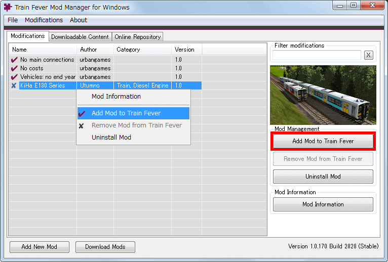 PC ゲーム Train Fever ゲームプレイ最適化メモ、Train Fever - Mod 導入方法、Mod 管理ツール - Train Fever Mod Manager(TFMM) の使い方、Mod 有効化方法、一時的に削除した Mod を選択して右クリックから Add Mod to Train Fever をクリック、または画面右側にある Add Mod to Train Fever ボタンをクリック
