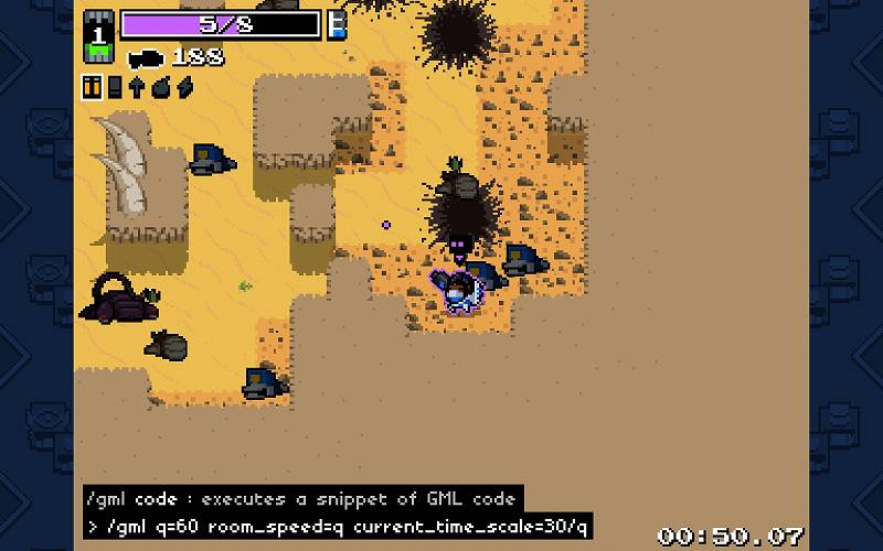 PC ゲーム Nuclear Throne 日本語化とゲームプレイ最適化メモ、Nuclear Throne Together (NTT) fps 上限解除設定方法、キャラクター選択画面やゲーム中にコマンドライン(キーボードのチャットキー(T キー)またはスラッシュキー(/ キー))を表示して 60fps 化コード入力