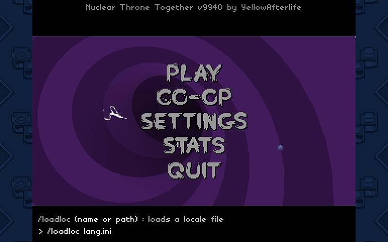 PC ゲーム Nuclear Throne 日本語化とゲームプレイ最適化メモ、Nuclear Throne Together (NTT) 日本語有効化方法、キーボードのチャットキー(T キー)またはスラッシュキー(/ キー)でコマンドラインを表示して、/loadloc lang.ini を入力、コピー&ペーストでも可能