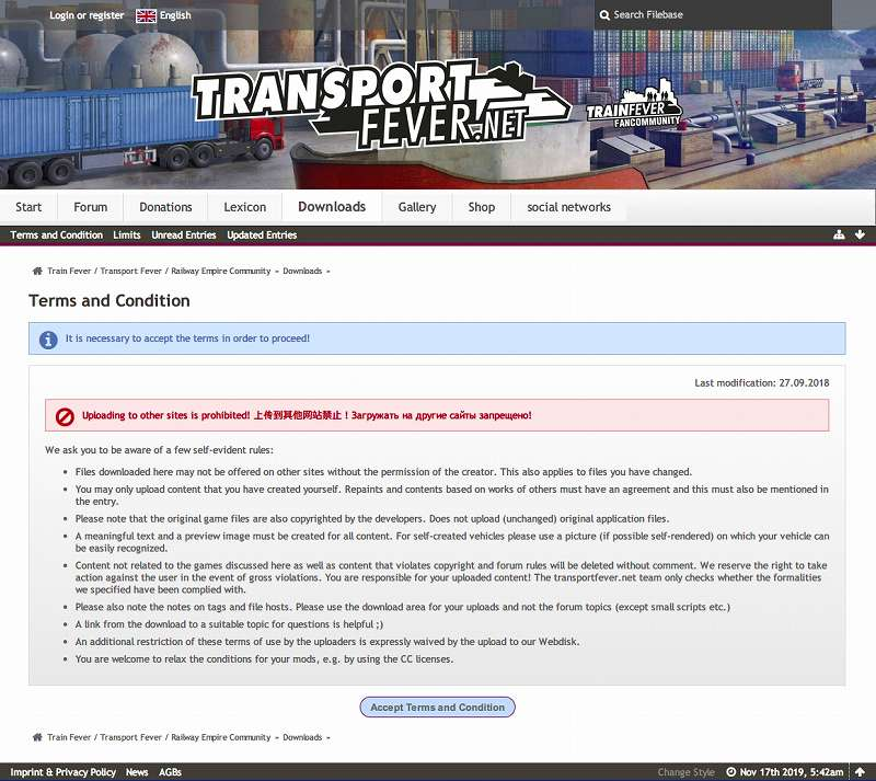 PC ゲーム Train Fever ゲームプレイ最適化メモ、Train Fever - Mod 導入方法、Transport Fever Community サイト内に表示される Terms and Condition