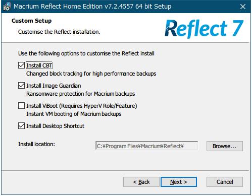 第 3 世代 Ryzen CPU(Zen 2)+Windows 10 Pro 64bit 環境にドライバとソフトウェアをインストール・セットアップしたときのメモ、ソフトウェア(バックアップ)、Macrium Reflect Home Edition(システムバックアップソフト)、Macrium Reflect Home Edition v7.2.4557 64 bit Setup、Custom Setup 画面