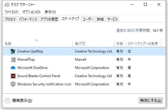 第 3 世代 Ryzen CPU(Zen 2)+Windows 10 Pro 64bit 環境にドライバとソフトウェアをインストール・セットアップしたときのメモ、ハードウェアドライバ、Creative Sound Blaster Z SB-Z サウンドカードドライバ、タスクマネージャー - スタートアップタブ Creative UpdReg 状態 有効