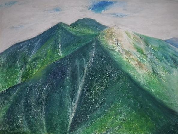 1 天神平から白毛門、笠ヶ岳、朝日岳を望む