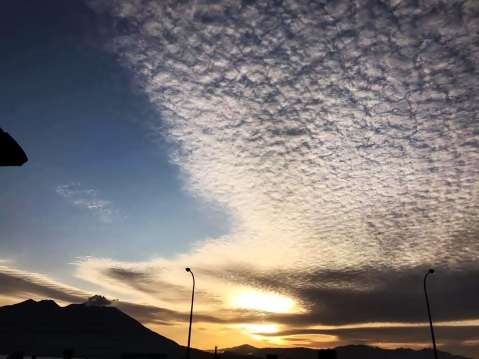 朝の桜島 雲