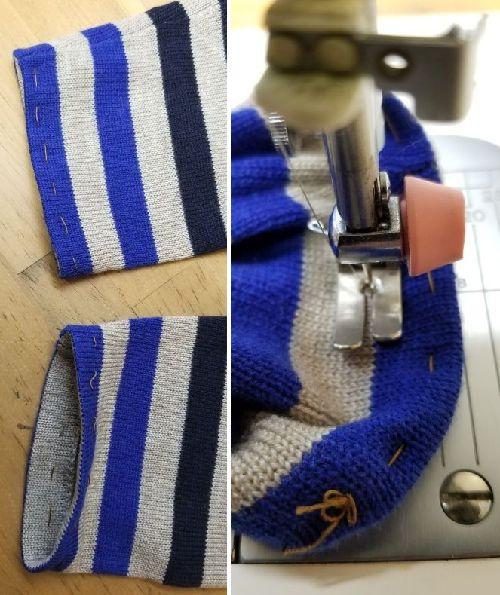 ボーダーニットの袖丈2つ‐7