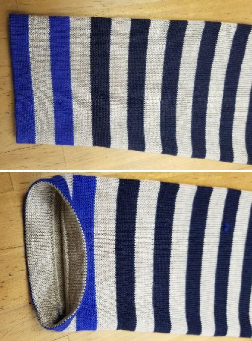 ボーダーニットの袖丈2つ‐9