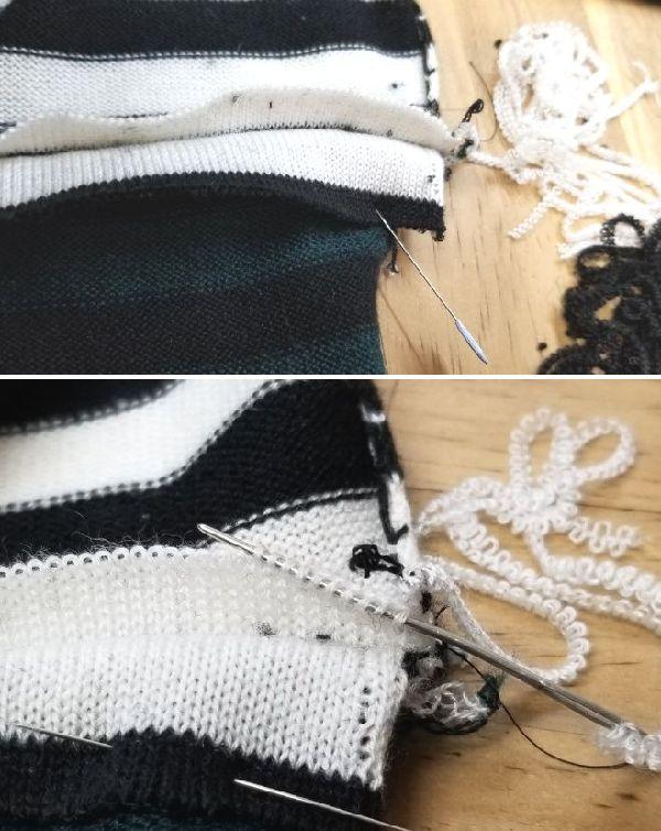 ボーダーニットの袖丈2つ‐16