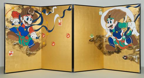 5マリオ&ルイージ風神雷神(「琳派」の400周年記念コラボ作品)