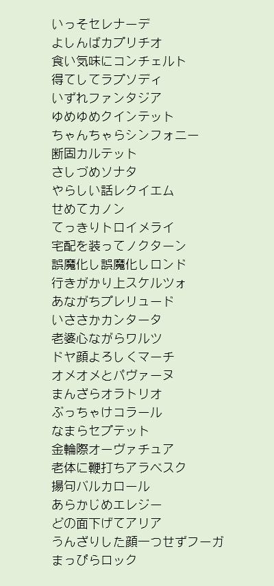 副詞っぽいの+音楽用語で作ってみた