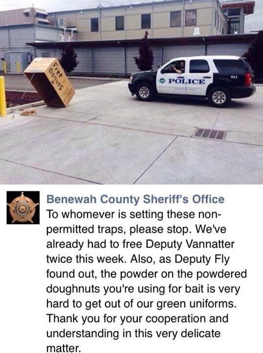 Free donuts police trapドーナツで警官を…