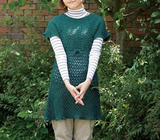 かぎ針編みチュニック手編み毛糸ピエロ