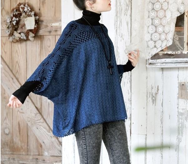 かぎ針編みシルクチュニック毛糸ピエロ
