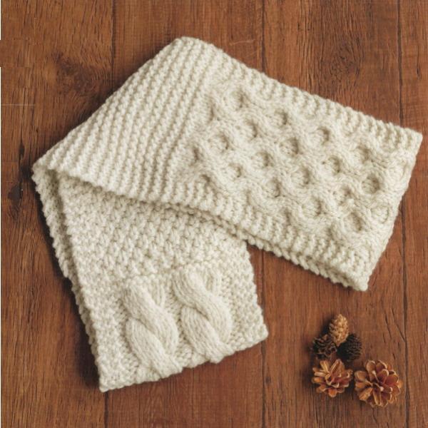 棒針編み模様編み鹿の子パッチワーク風スヌード